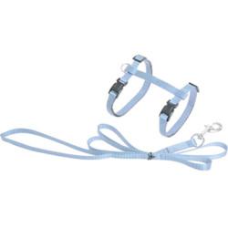 Flamingo Harnais et laisse de 1.10 mètre pour chat. couleur bleu clair FL-1031208 Collier, laisse, harnais