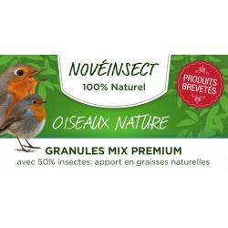 novealand Alimentation oiseaux nature - granules MIX PREMIUM avec 50% insectes pot de 100 grammes. apport en graisses naturel...