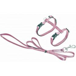 Flamingo FL-1031209 Harnais et laisse de 1.10 mètre pour chat. couleur rose clair. collier laisse cage