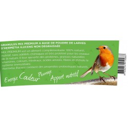 Alimentation oiseaux nature - granules MIX PREMIUM avec 50% insectes pot de 100 grammes. apport en graisses naturelles