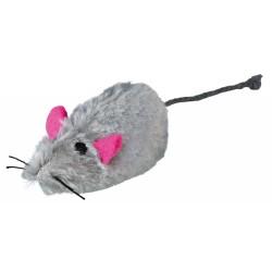 lot de 2 souris peluche blanche et grise pour chat Jeux Trixie TR-4116-x2