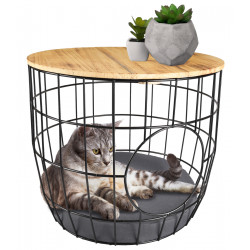 Flamingo Pet Products Basket ø 50 x H 40 cm. wire mesh. black. for cat Sleeping