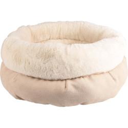 Flamingo Pet Products Coussin rond ø 45 cm x 23 cm. couleur beige . pour chat . gamme Huben Couchage