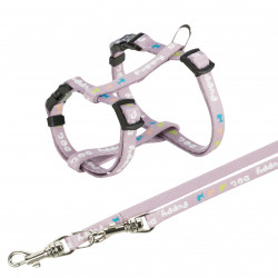 TR-15344 Trixie Arnés juvenil para cachorro con correa. Dimensiones: 23-34 cm/8 mm. color púrpura. arnés para perro