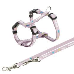 Trixie Harnais Junior pour chiot avec laisse. Dimensions: 23-34 cm/8 mm. couleur mauve. TR-15344 harnais chien
