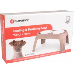 Flamingo FL-519942 Double bowl on legs. Mole mangi. 2 x 675 ml. Bowl, double bowl