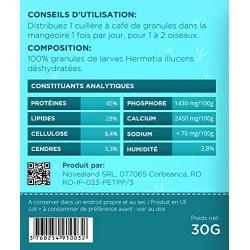 GR2-30-O novealand Gránulos de alimento para aves 100% insectos - frasco de 30 gramos - larvas de hermetia illucens Comida y ...