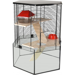 Flamingo Pet Products Cage pour hamster VITRU hexagone. 43.5 x 52 cm. pour rongeur Cage