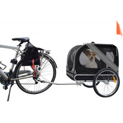 Flamingo Pet Products DOGGY LINER JULIETTE trailer. 80 x 57 x 64 cm. grey and black. for dog Transport