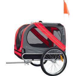Flamingo DOGGY LINER JULIETTE trailer. 80 x 57 x 64 cm. rosso e grigio. per cani FL-31606 Transport