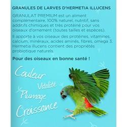 Granulado alimentar das aves 100% insectos - frasco de 30 gramas - hermetia ilucida as larvas GR2-30-O nourriture a base Insecte