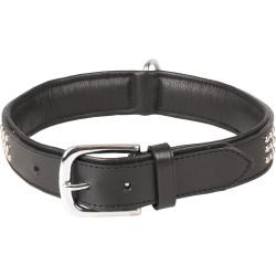 Flamingo FL-520054 Leather collar SEDONA black. size XL 47-55 cm. for dog. Necklace