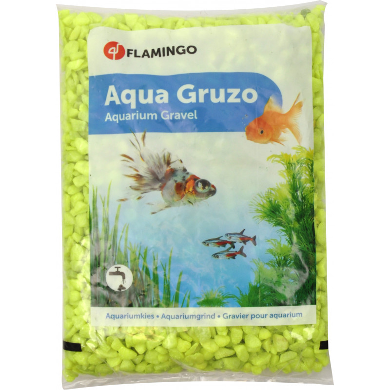 Flamingo Pet Products Neon yellow gravel 1 kg. for aquarium. Decoration and other