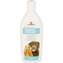 Flamingo Shampoing et apres shampoing 2 en 1. pour chien. flacon de 300 ml. FL-507779 Shampoing
