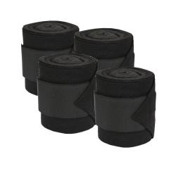 KE-326790 kerbl Bandages en polaire avec insert extensible noir. pour chevaux. (lot de 4) cuidado equino