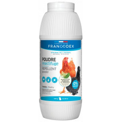 francodex FR-174208 Insect repellent powder, 640g powder bottle, for poultry. Low courtyard