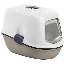 ZO-590016TAU stefanplast Casa de baños de color gris y blanco furba. 39.4 × 58,5 × 42,7 cm. para el gato Aseo de la casa