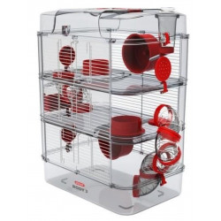 zolux ZO-206023 Cage Trio rody3. color grenadine. size 41 x 27 x 53 cm H. for rodent Cage