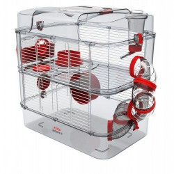 zolux Cage Duo rody3. couleur grenadine. taille 41 x 27 x 40.5 cm H. pour rongeur Cage