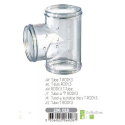 zolux ZO-206028 T-tube Rody grey transparent. size ø 5 cm x 9.5 cm x 8 cm. for rodents. Cage