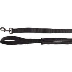 Flamingo FL-519987 Laisse KAYGA noir avec petit rangement 1.60 m x 25 mm. pour chien dog leash