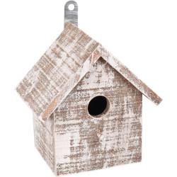 FL-110294 Flamingo Casa de madera del GOOS para pájaros . 15.5 x 11 x 16 cm. blanco/marrón. Jaulas, pajareras, nidos