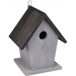 Flamingo FL-110308 Bird house GUUS. 18.5 x 15 x 23 cm. in grey / black wood. Cages, aviaries, nest boxes