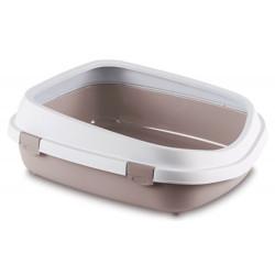 ZO-590108GRO stefanplast Gran caja de arena Reina. 55 x 71 x 24,5 cm. para los grandes gatos. Gris rosado. Cajas de arena