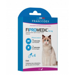 francodex FR-170351 4 pipettes de 0.5 ml. Fipromedic 50 mg. pour chats. antiparasitaire. ANTIPARASITAIRE
