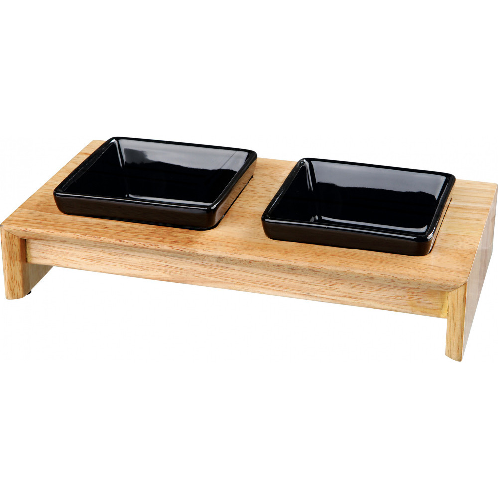 Trixie TR-24820 Set of bowls, ceramic/wood 0.2L/10 cm Bowl, bowl, bowl
