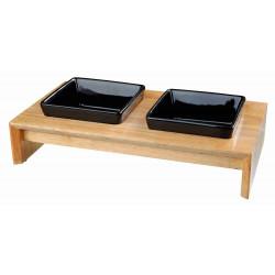 Trixie Schüssel-Set, Keramik/Holz 0,4l/13 cm TR-24821 Schüssel, Schüssel, Schüssel, Schüssel