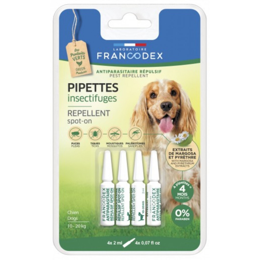 francodex FR-175223 4 Insect repellent pipettes for dogs from 10 kg to 20 kg. Pest control pipettes