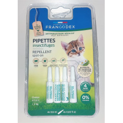 FR-175220 francodex 4 Pipettes Insectifuges. Pour Chatons moins de 2 kg. ANTIPARASITAIRE