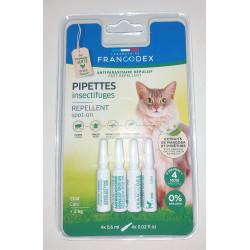 francodex 4 Pipettes Insectifuges. Pour Chats plus de 2 kg. FR-175221 Antiparasitäre Katze