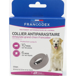 francodex FR-170255 1 Dimpylate Pest Control Necklace 70 cm. For Dogs. grey colour pest control collar