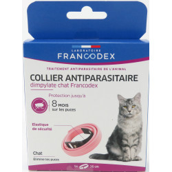 francodex FR-170154 Dimpylate Pest Control Collar For Cats. 35 cm. Pink colour. ANTIPARASITAIRE