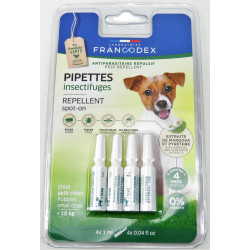 francodex FR-175222 4 Insect repellent pipettes for puppies and small dogs under 10 kg. Pest control pipettes