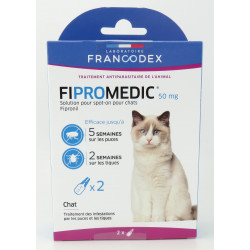Francodex 2 pipettes of 0.5 ml. Fipromedic 50 mg. for cats. antiparasitic. ANTIPARASITAIRE