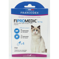 Francodex 4 pipettes of 0.5 ml. Fipromedic 50 mg. for cats. antiparasitic. ANTIPARASITAIRE