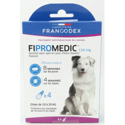 francodex 4 Pipettes Fipromedic 134 mg. Pour Chiens de 10 kg à 20 kg. antiparasitaire FR-170353 antiparasitaire