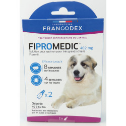 francodex 2 Pipettes Fipromedic 402 mg. Pour très grand Chiens de 40 kg à 60 kg. antiparasitaire FR-170360 antiparasitaire