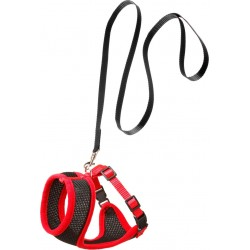 Harnais chat noir/rouge 110cm/10mm collier laisse cage Flamingo FL-1031364