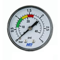 """MT MT-Manometer für Schwimmbadfilter rückseitige Montage rückseitiger Anschluss 1/4""""-Gewinde MPISA50/030 Manometer"""