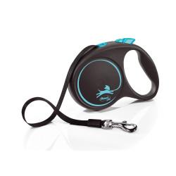 Flexi ZO-464456BLE Flexi Black Design. size L strap 5 meters. leash for dog max 50 kg. black and blue dog leash