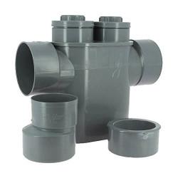 ADEQUA Sifone antiriflusso monoblocco in PVC, Evac Ø 125/100, antiodore SO-ENFSIPH125100 Raccordo di drenaggio in PVC