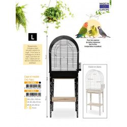 zolux ZO-104185BLC Cage and furniture CHIC PATIO. size L. 53 x 33 x height 144 cm. color white. Cages, aviaries, nest boxes