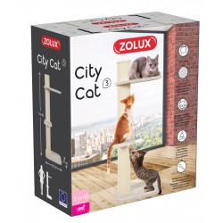 zolux Cat tree CITY CAT n°3. size height 115 cm. post ø 17 cm. beige color. Arbre a chat, griffoir