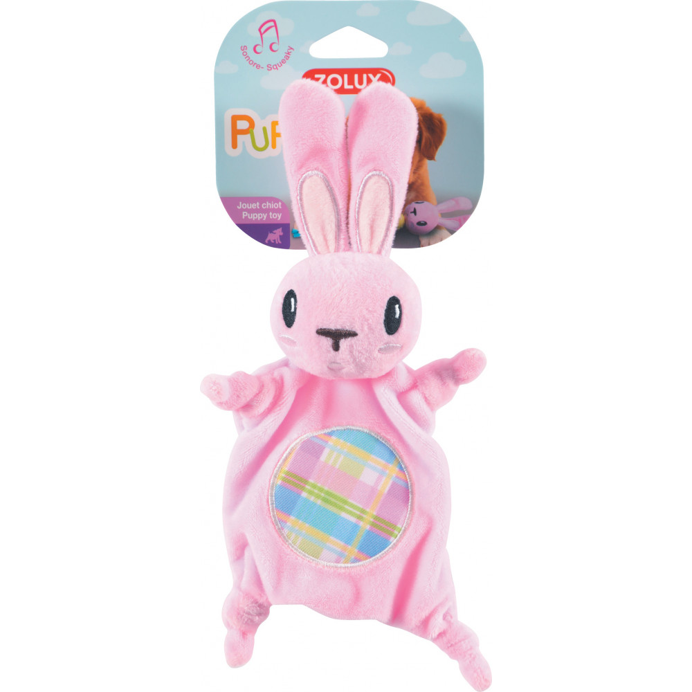zolux PUPPY XS plush toy. Pink plush toy. 20 cm. for puppies. Peluche pour chien