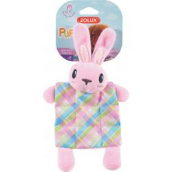 zolux Plush toy PUPPY XS Plaid pink. 24 cm. for puppies. Peluche pour chien