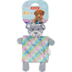 zolux Plush toy PUPPY XS Plaid grey. 24 cm. for puppies. Peluche pour chien